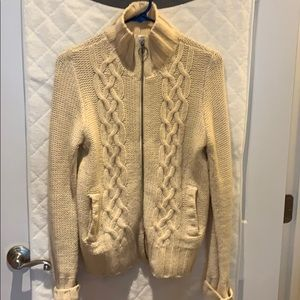 Cable knit full zip sweater